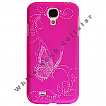 Samsung GS4 Shield Stitched Butterfly Hot Pink